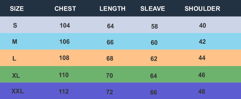 SIZE CHARTS FOR REFLECTIVE HODDIE